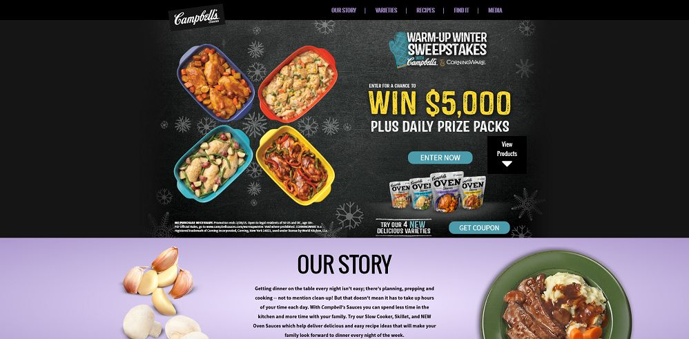 Warm Up Winter Sweepstakes with Campbell's and Corningware
