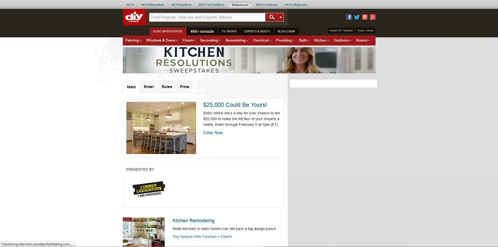 DIY Network Kitchen Resolutions Sweepstakes (diynetwork.com/kitchensweeps)