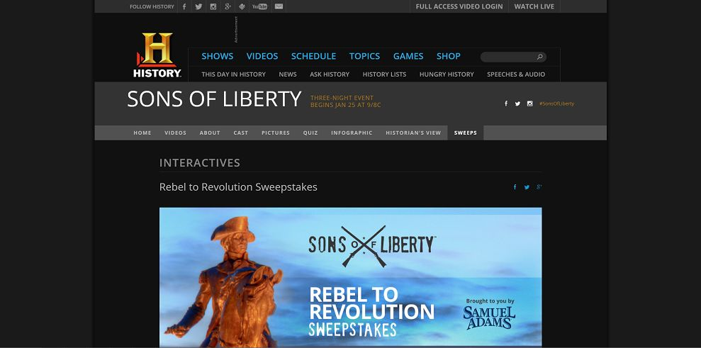 Sons Of Liberty Rebel To Revolution Sweepstakes