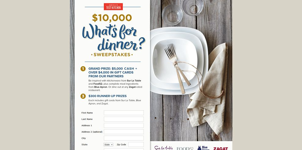 America's Test Kitchen $10,000 What's for Dinner Sweepstakes