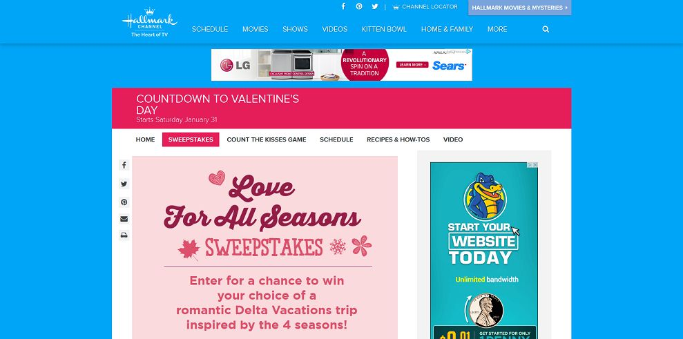 Hallmark Channel's Love For All Seasons Sweepstakes