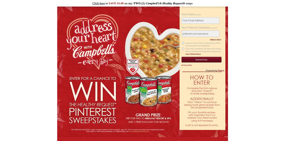 Campbell's Healthy Request Pinterest Sweepstakes