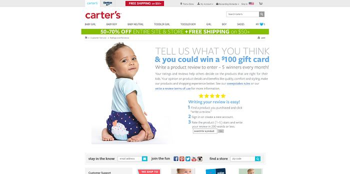 Carter's Write a Review Sweepstakes