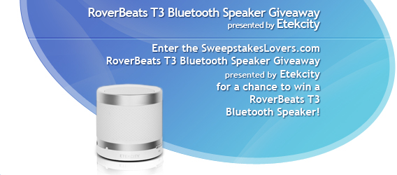 SweepstakesLovers.com RoverBeats T3 Bluetooth Speaker Giveaway presented by Etekcity
