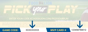 Food Lion PickYyour Play Code