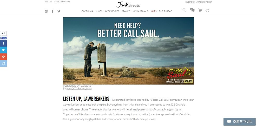 Jack Threads And Better Call Saul Need Help Sweepstakes