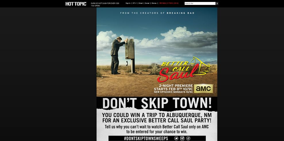 Hot Topic Don't Skip Town Sweepstakes