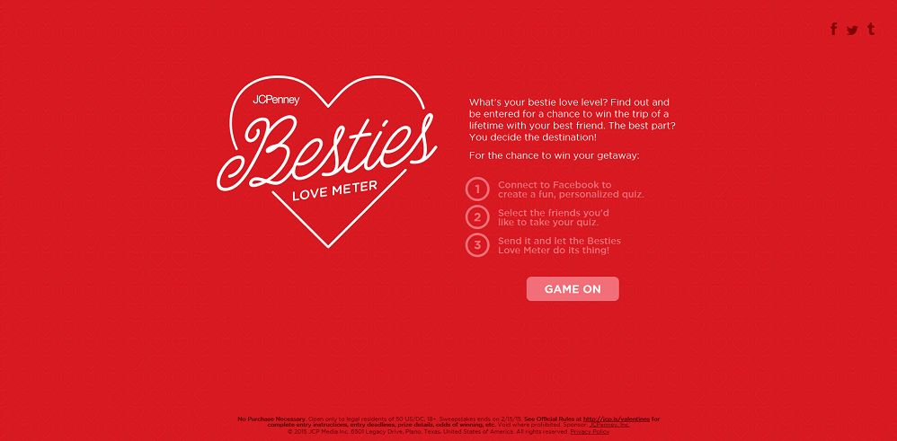 JCPenney Besties Love Meter Sweepstakes