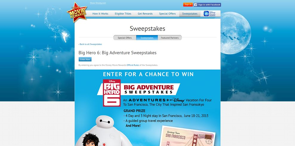 Disney Movie Rewards Big Hero 6: Big Adventure Sweepstakes