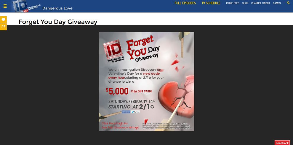 investigationdiscovery.com/giveaway - Investigation Discovery Forget You Day $5K Giveaway