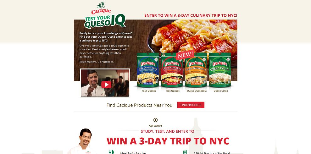 Cacique Queso IQ Sweepstakes
