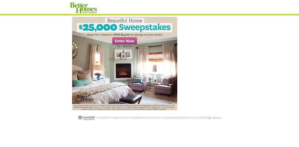 BHG Beautiful Home $25,000 Sweepstakes