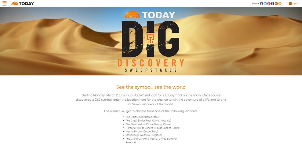 Today's Dig Discovery Sweepstakes