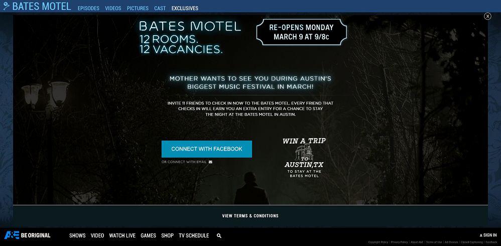 A&E's Bates Motel No Vacancy Sweepstakes - AETV.com/NoVacancy