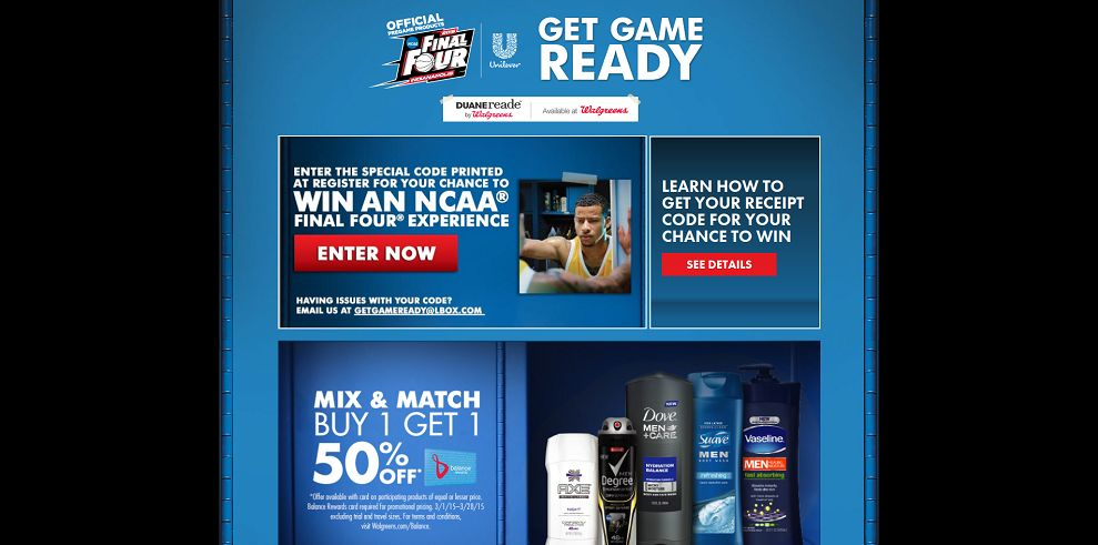 NCAA Get Game Ready Sweepstakes at Walgreens (UnileverGetGameReady.com/Walgreens)