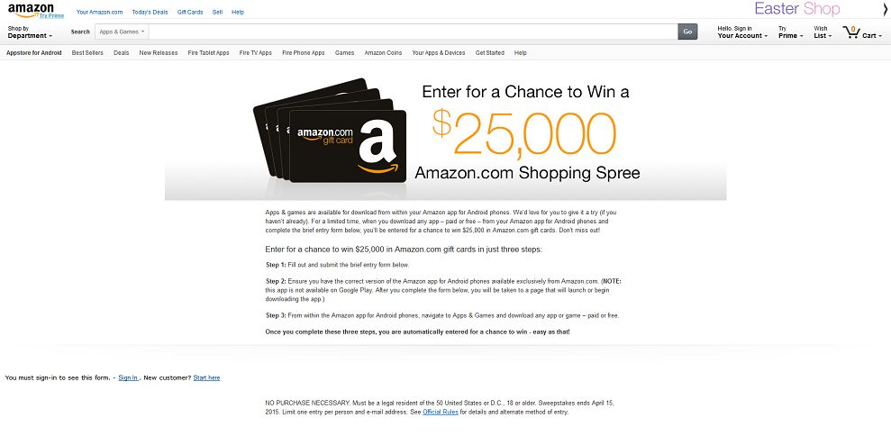 Amazon Appstore $25,000 Giveaway