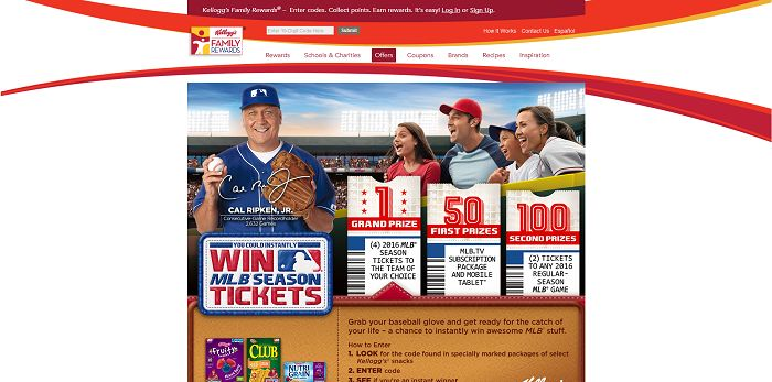 Kellogg's And MLB Catch Every Game Online Instant Win Game