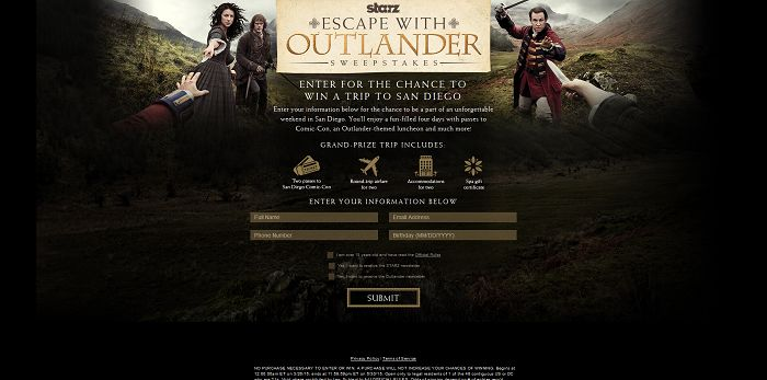 Starz Escape with Outlander Sweepstakes (StarzOutlanderSweeps.com)