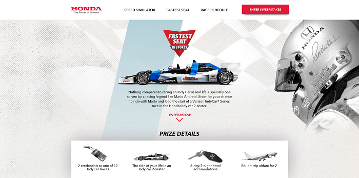 RaceWithHonda.com - Honda Fastest Seat In Sports Sweepstakes 2016