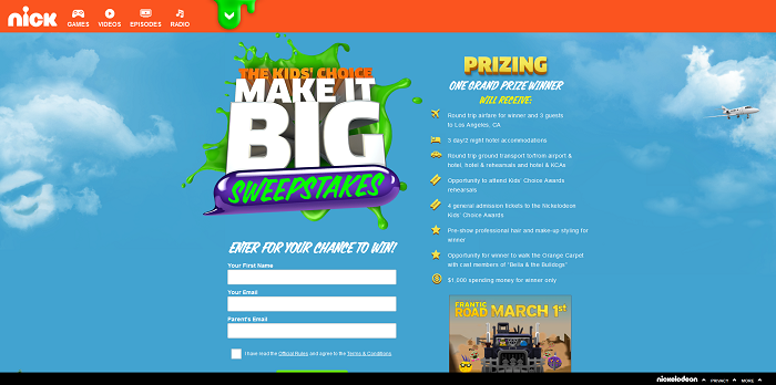 Nick.com/KCASweeps - Kids' Choice Awards Make It Big Sweepstakes