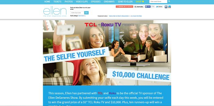The Selfie Yourself $10,000 Challenge (EllenTV.com/TCLRoku)