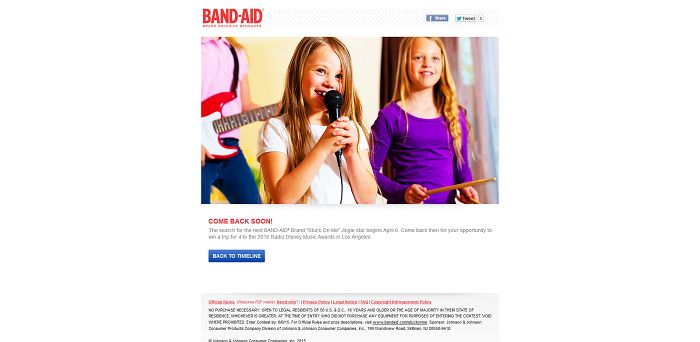 BAND-AID Brand Stuck On Me Sing-Along Contest