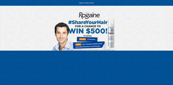 Men's ROGAINE Share Your Hair Sweepstakes