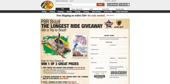 Bass Pro Shops PBR The Longest Ride Sweepstakes (BassPro.com/TheLongestRide)