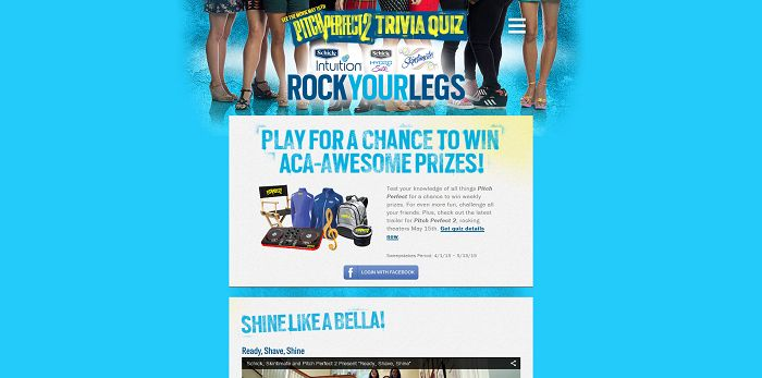 Schick and Pitch Perfect Trivia Quiz Sweepstakes (RockYourLegs.com)