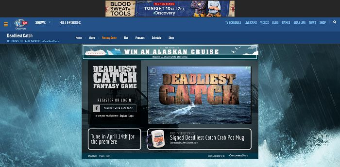 Discovery's Deadliest Catch Fantasy Game (Discovery.com/CatchGame)