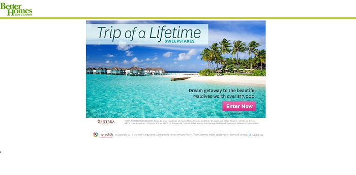 Better Homes And Gardens Maldives Sweepstakes