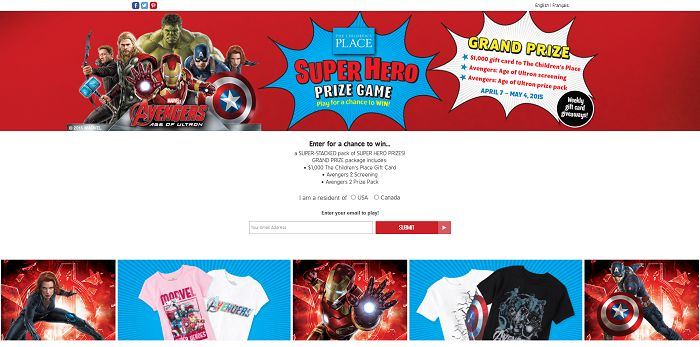 The Children's Place Super Hero Prize Game