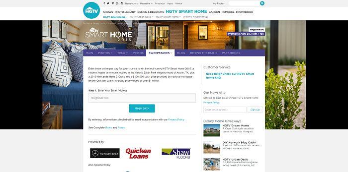 hgtv smart home sweepstakes win the hgtv smart home 2015. Black Bedroom Furniture Sets. Home Design Ideas