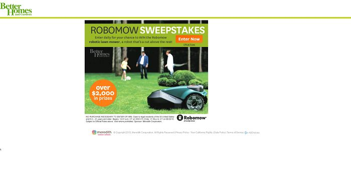 Better Homes and Gardens Robomow Sweepstakes