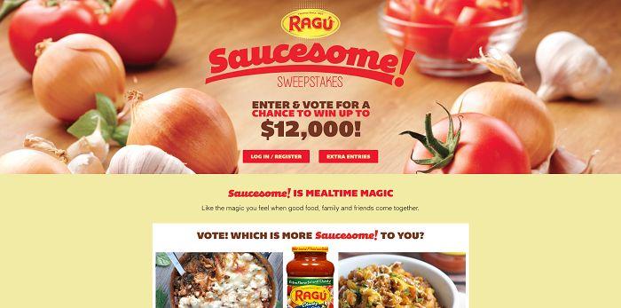 Ragú Saucesome Sweepstakes (RaguSweeps.com)