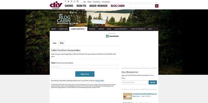 DIY Network Cabin Comforts Sweepstakes
