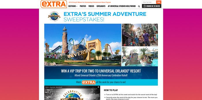 ExtraTV.com/SummerAdventure - Extra's Summer Adventure Sweepstakes