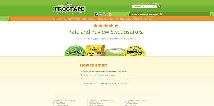 FrogTape Rate And Review Sweepstakes