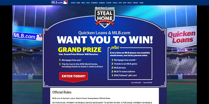 mlb.com/quickenloans - Quicken Loans Steal-A-Home Sweepstakes