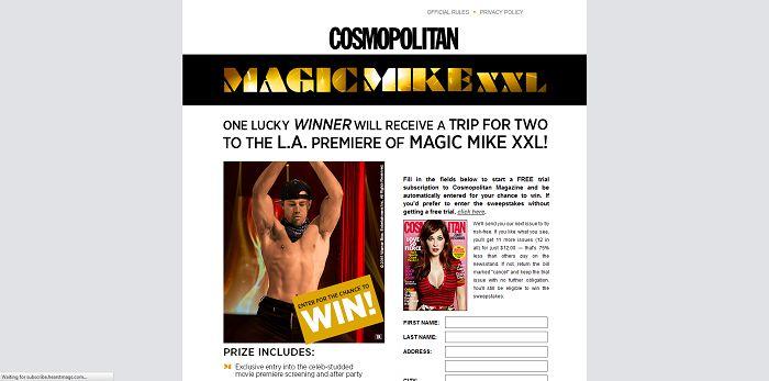 Cosmopolitan Magazine Magic Mike XXL Fandango Sweepstakes (Cosmopolitan.com/MagicMikeXXL)
