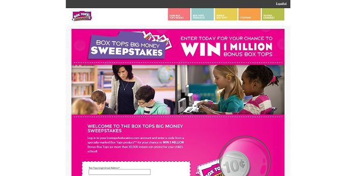 BTFE.com/BigMoney - Box Tops For Education Big Money Sweepstakes