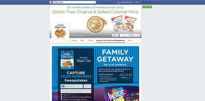 Snack Factory Pretzel Crisps Capture Your Memories Sweepstakes (PretzelCrisps.com/InsideOut)
