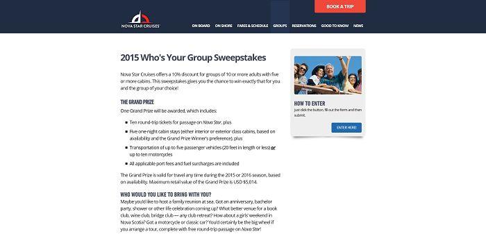 Nova Star Cruises 2015 Who's Your Group Sweepstakes