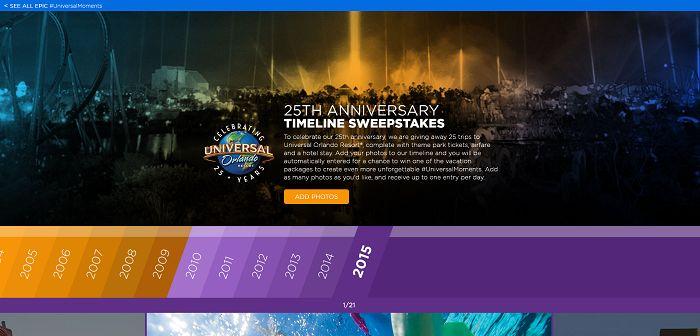 Universal Orlando 25th Anniversary Timeline Sweepstakes