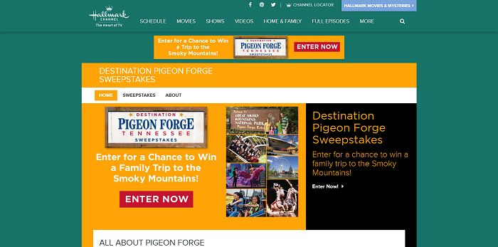 HallmarkChannel.com/PigeonForge - Hallmark Channel's Destination Pigeon Forge Tennessee Sweepstakes