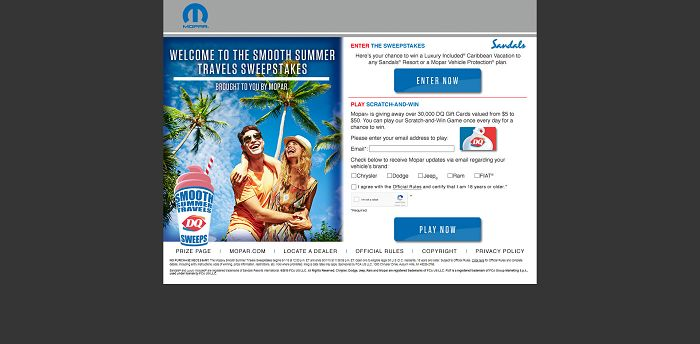 EnterMoparSweeps.com - MOPAR Smooth Summer Travels Sweepstakes