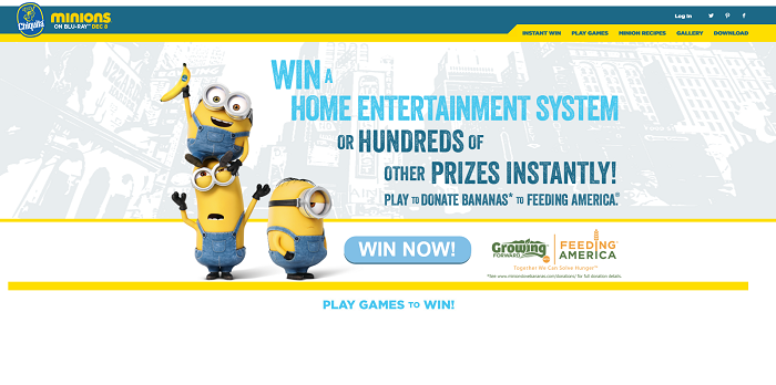 MinionsLoveBananas.com - Chiquita Minions Sweepstakes And Instant Win Game