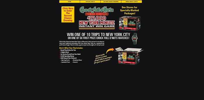 ChockNYMinuteSweeps.com - Chock Full O'Nuts $25,000 New York Minute Instant Win Game