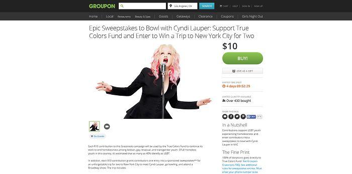 Groupon.com/Cyndi - Groupon Epic Cyndi Lauper Sweepstakes