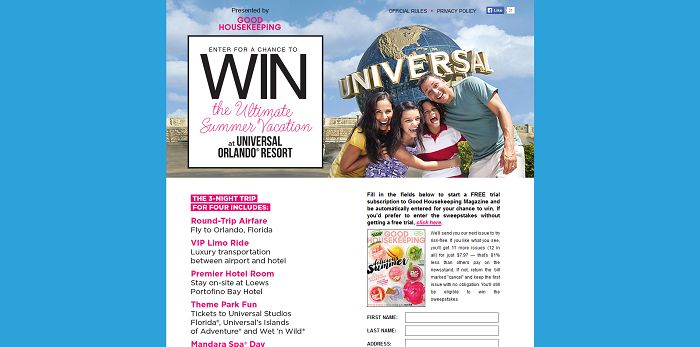 GoodHousekeeping.com/Universal - Good Housekeeping Universal Orlando Resort Trip Sweepstakes